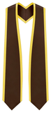 "Plain Graduation Stole Pointed End With Gold Trim - 72"" Long - Stoles.com"