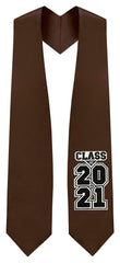 "Brown ""Class of 2021"" Graduation Stole"