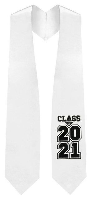 "White ""Class of 2021"" Graduation Stole"