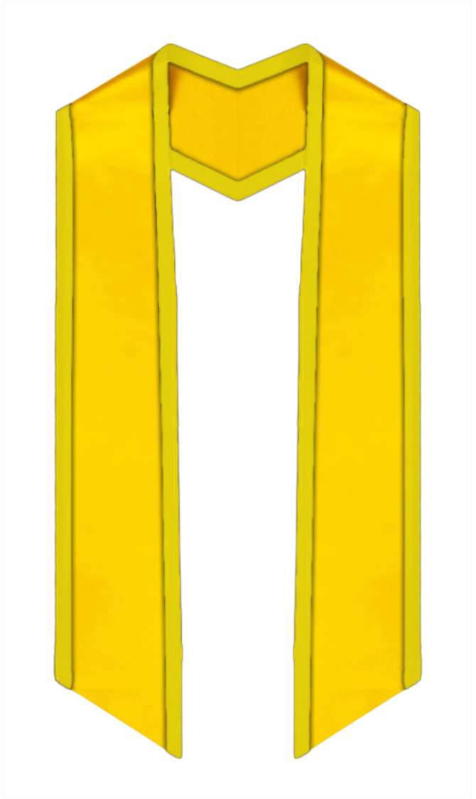 "Plain Graduation Stole Slanted End With Gold Trim - 60"" Long - Stoles.com"