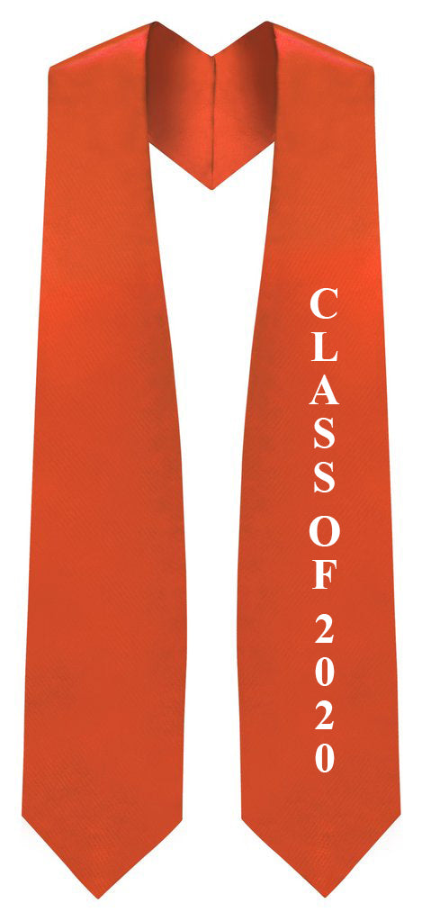 "Orange ""Class of 2020"" Graduation Stole - Stoles.com"