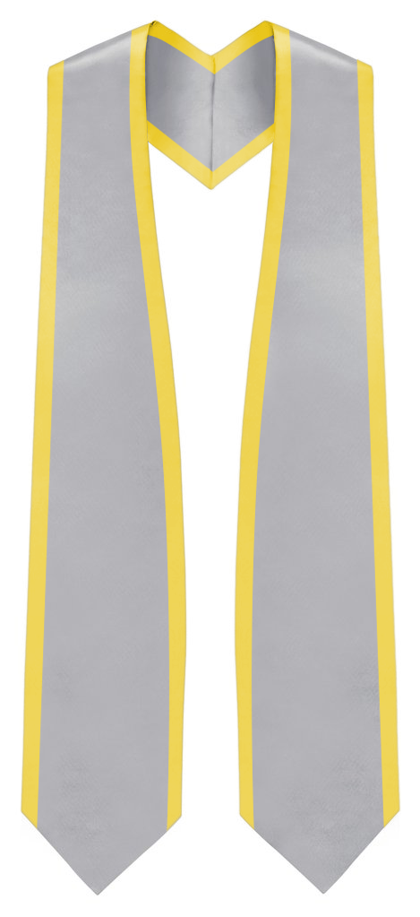 "Plain Graduation Stole Pointed End With Gold Trim - 60"" Long - Stoles.com"