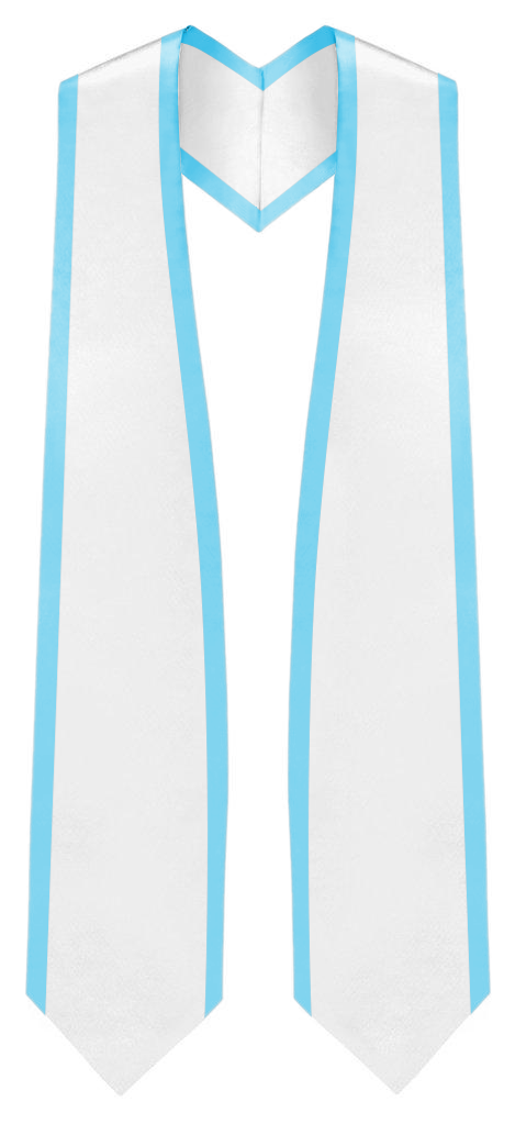 "White Graduation Stole Pointed End With Trim - 72"" Long - Stoles.com"