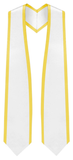 "White Graduation Stole Pointed End With Trim - 60"" Long - Stoles.com"