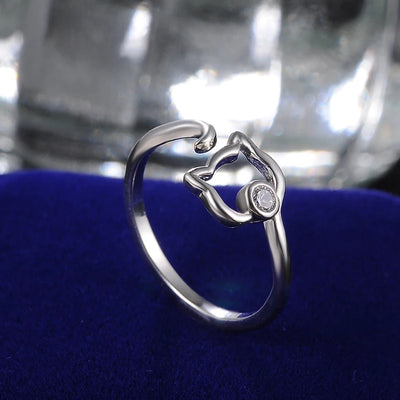 ANILLO GATO AJUSTABLE  PLATA ZIRCON - Animal Choice - REGALOS