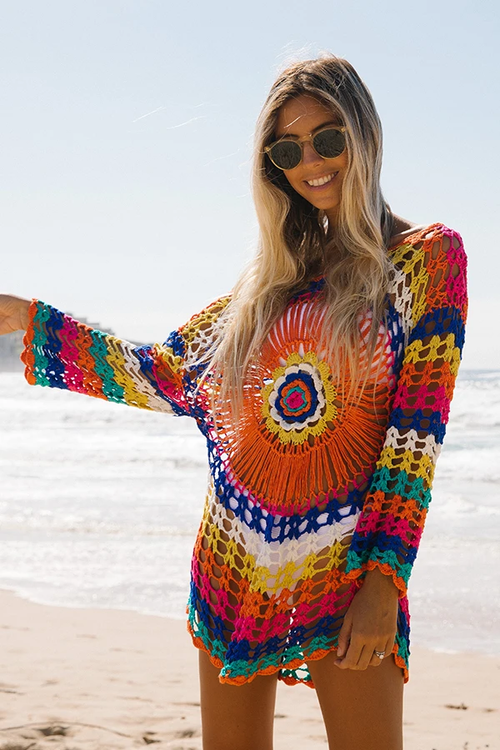 Suolory Bohemian Long Sleeve Hollow Out Knit Cover-up