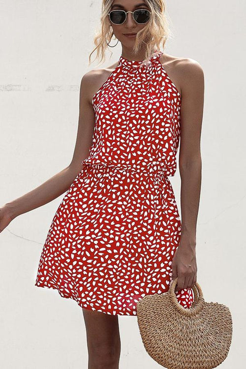 Suolory Polka Dot Print Halter Neck Casual Dress