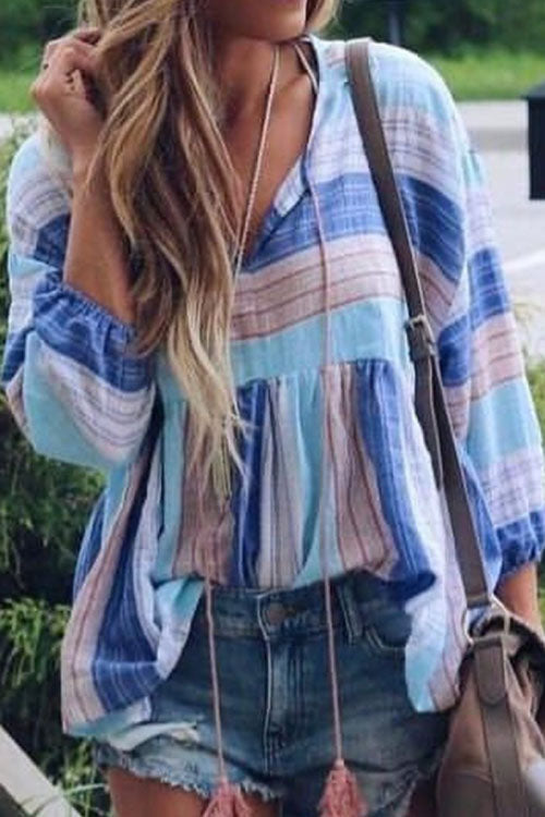 Trendylov Bohemian O-neck Flare Sleeve Tie Loose Blouse