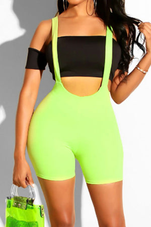 Trendylov Sporty Solid Color Bike Overalls