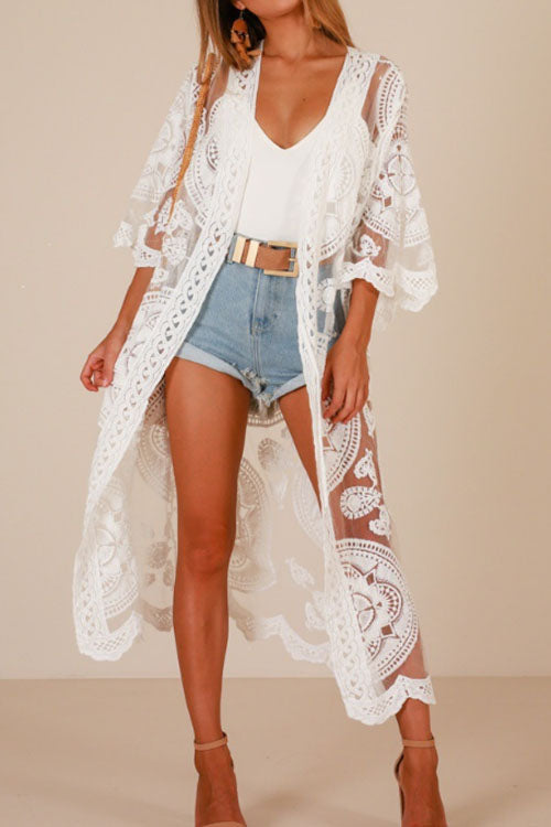 Trendylov Bohemian Half-sleeve Hollow Out Cover-up