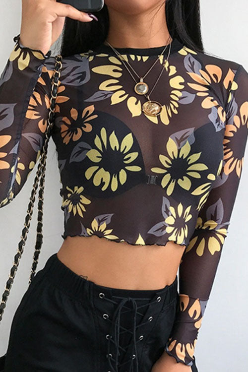 Trendylov Street Floral Print See-through Short T-shirt