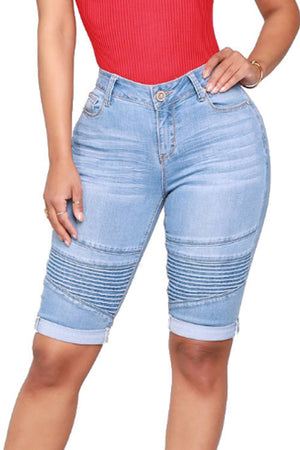 Trendylov Casual Mid Rise Elastic Blue Denim Shorts