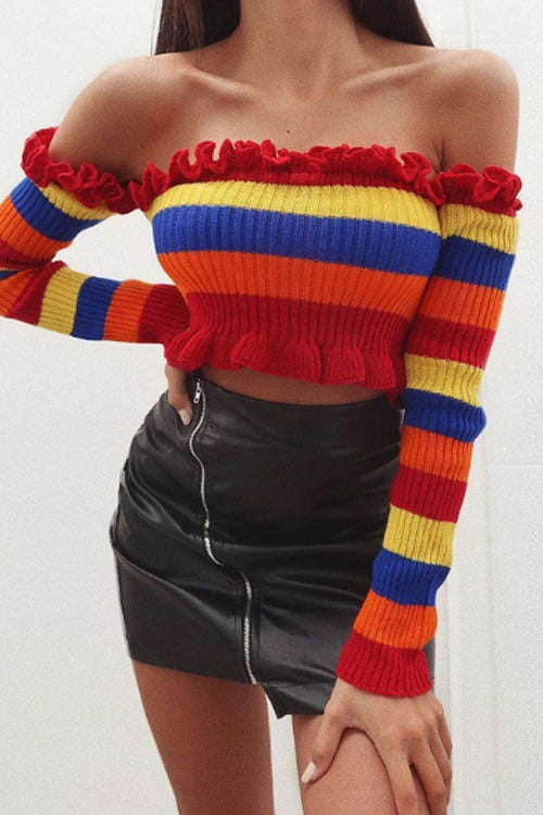 Suolory Street Strapless Long Sleeve Striped Print Crop Sweater