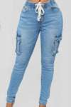 Trendylov Casual High Rise Tie Pockets Jeans