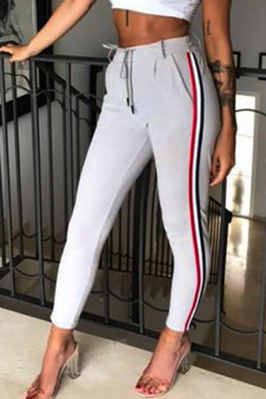 Trendylov Street High Rise Waist Tie Color Patchwork Pants