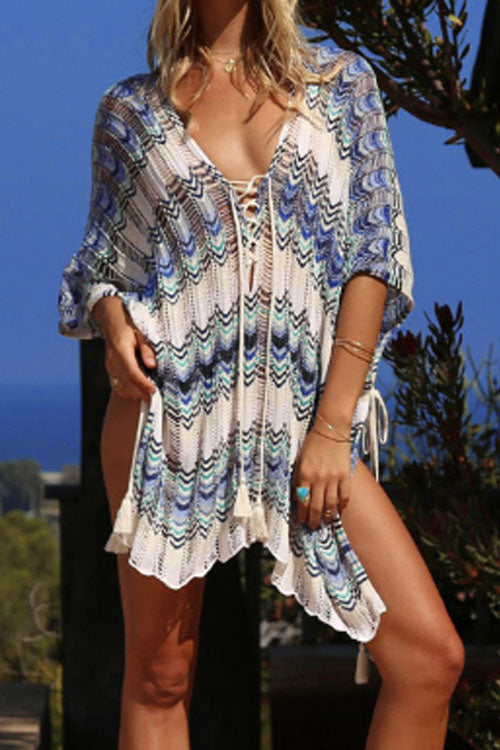 Trendylov Bohemian Hollow Out Lace-up Knit Cover-up
