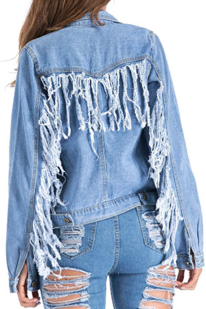 Trendylov Street Long Sleeve Back Tassels Denim Coat