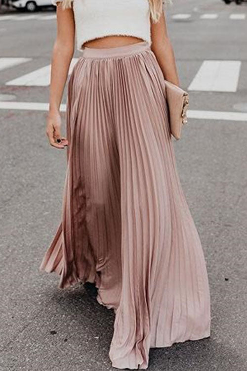 Trendylov Casual Solid Color Long Pleated Skirt