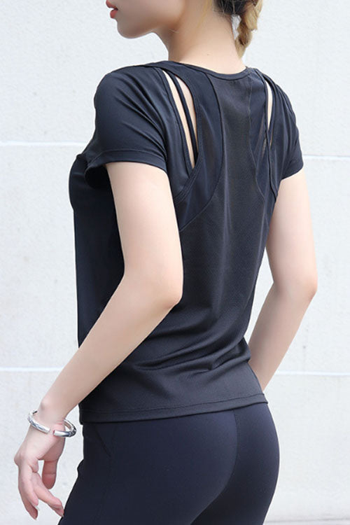 Suolory Sporty O-neck Hollow Out Yoga T-shirt