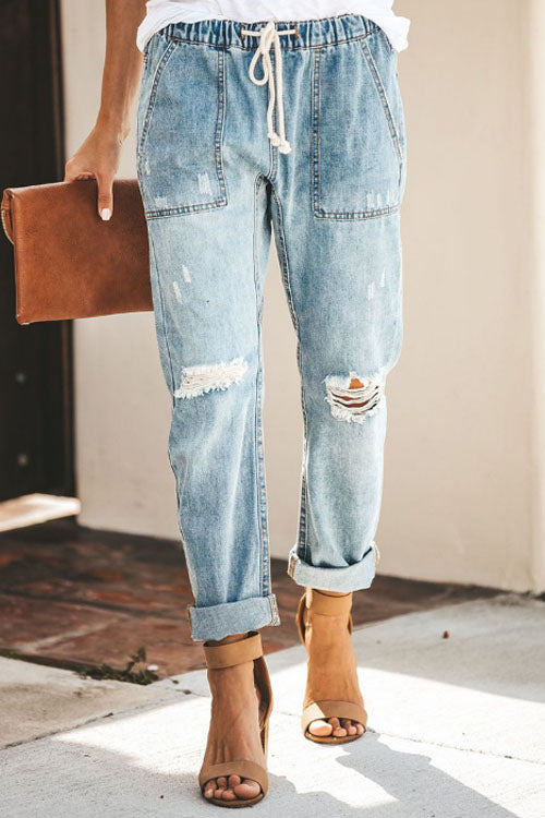 Trendylov Casual Waist Tie Distressed Loose Jeans