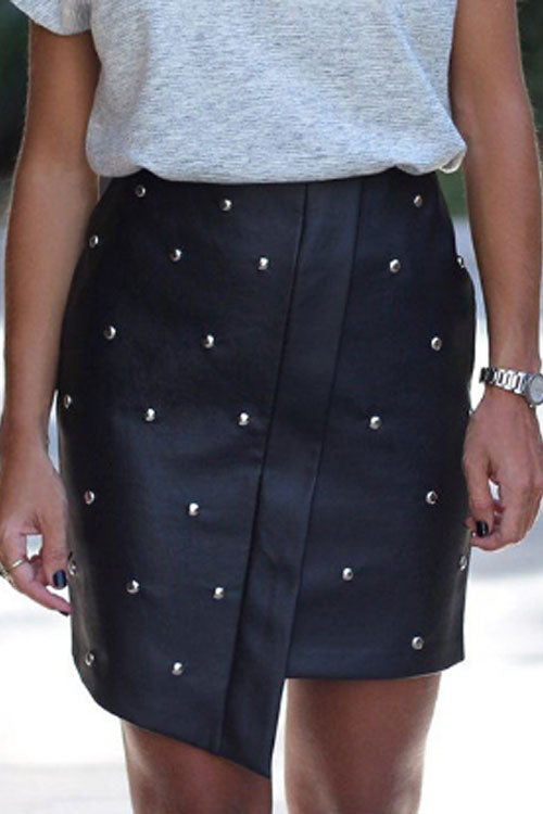 Trendylov Street Summer Button Up PU Skirt