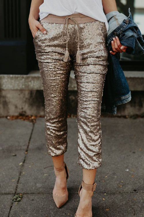 Trendylov Casual Waist Tie Sequined Pants