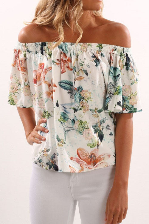 Trendylov Casual Strapless Floral Print Blouse