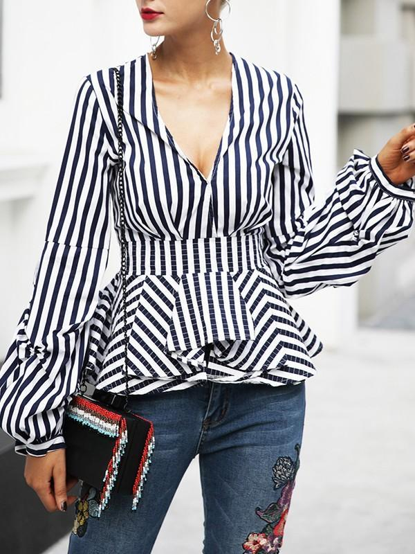 Deep V Neck lantern printed long-sleeved pleated shirt