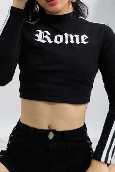 Suolory Sporty Long Sleeve Letters Print Hoodies