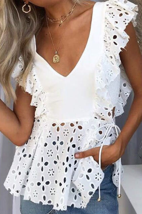 Suolory Bohemian V-neck Sleeveless Hollow Out Blouse