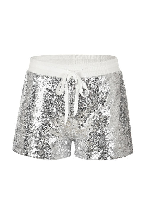 Suolory Casual Waist Tie Sequined Bodycon Shorts