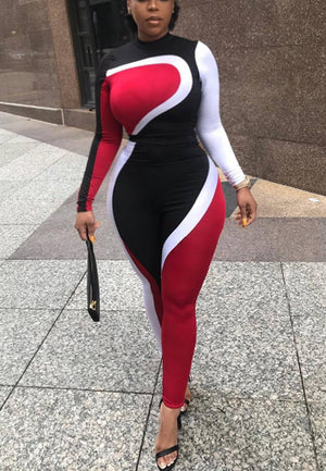 Long Sleeve Color Block Skinny Jumpsuit