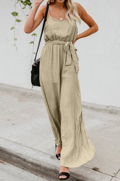 Trendylov Casual Sold Color Spaghetti Strap Backless Lace Up Wide Leg Jumpsuit(with belt)