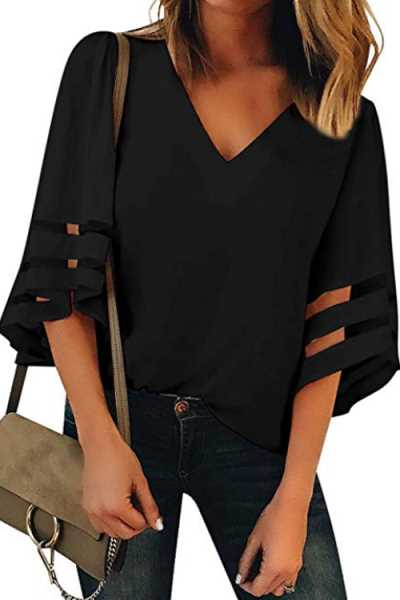 Trendylov Casual V-neck Tissue Patchwork Loose Flare Sleeve Blouse