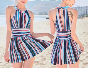 TredyLov Keyhole Back Striped One Piece Swimdress