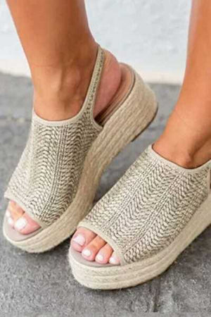 Trendylov Casual Hemp Woven Breathable Fish Mouth Sandals