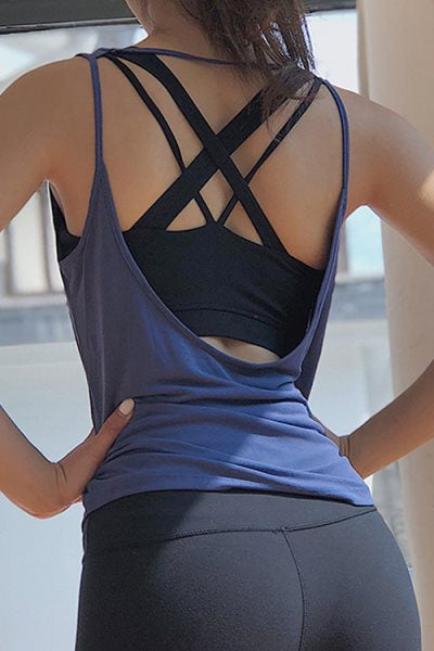 Suolory Sporty Solid Color Backless Camisole(No Bra)