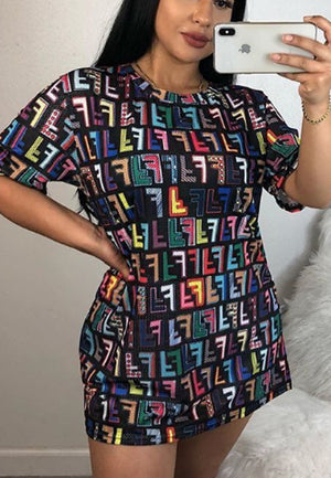 Personality Tetris Printed Casual Dress