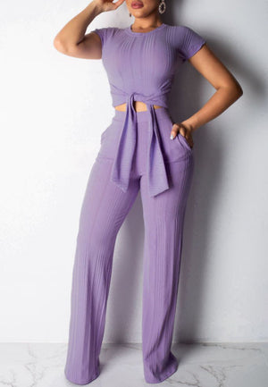 Fashion Casual Navel Short Sleeve Two-piece Suit