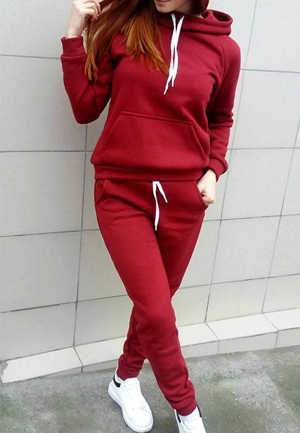 Fleece Hooded Warm Casual Two-Piece Sets