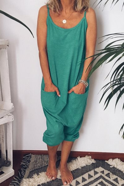 Trendylov Casual Solid Color Spaghetti Strap Backless Pocket Jumpsuit