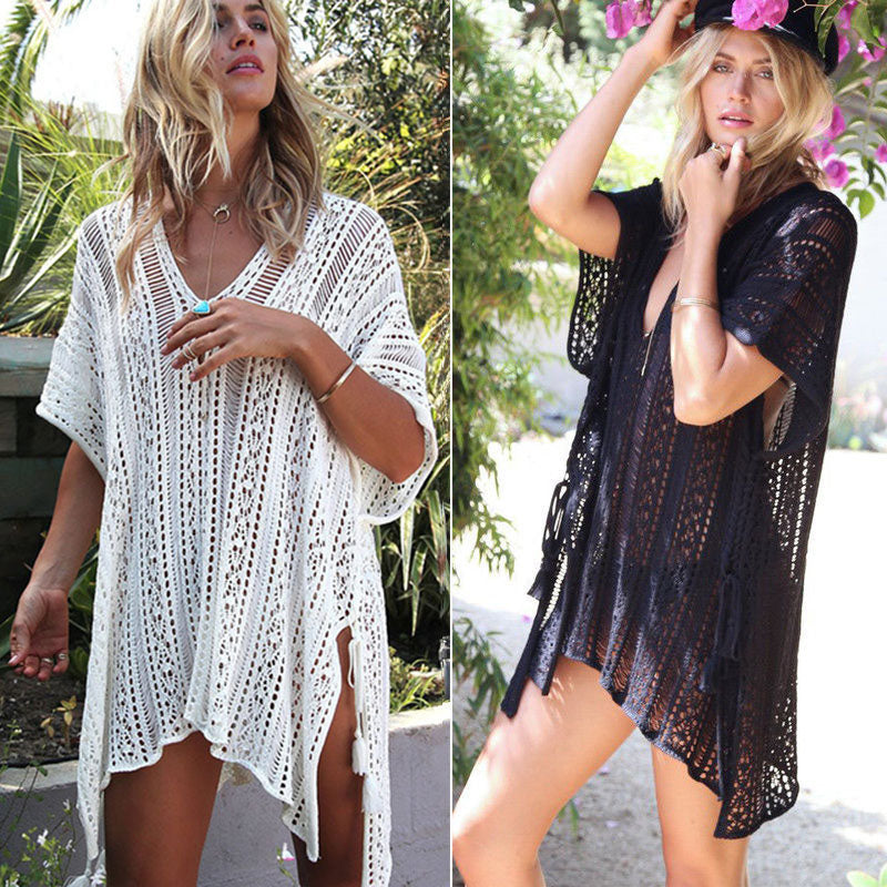 Sexy Beach Cover Up White Crochet Robe Women Plage Swim Wear Beachwear Cover-ups