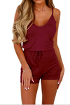 Summer Casual Spaghetti Strap Adjustable Waist Drawstring Short Jumpsuit Solid Cami Romper for Girl