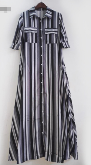 Summer New Color Striped Print Strap Dress