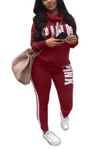 Letter Print Cowl Neck Hoodies Top Stripe Pant