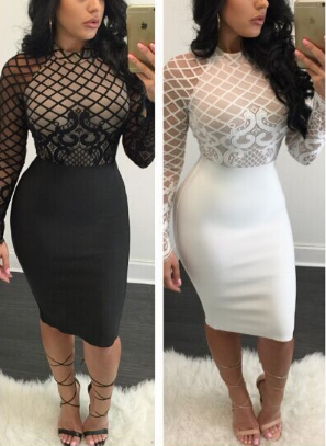 Lace Mesh Stitching Black Dress