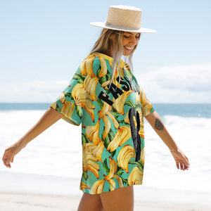 2020 New Short Sleeve Cover-ups Women Summer Beach Wear Leaves Tunic Dress Bikini Bath Sarong Wrap Skirt Swimsuit Cover Up