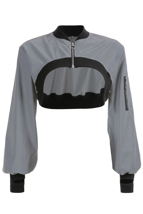 Suolory Street Long Sleeve Reflect Short Hoodies