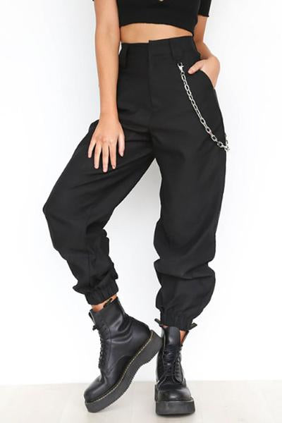 Suolory Casual High Rise Solid Color Loose Pants(with chain)