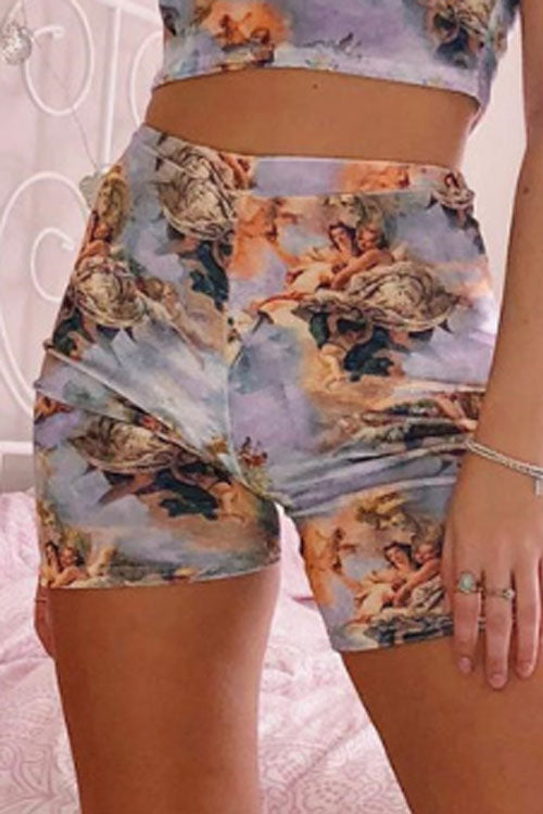 Suolory Sporty High Rise Floral Print Bike Shorts